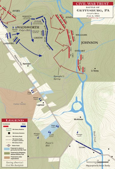 Attack of Steuart's Brigade and Johnson's Division.  Notice the end of the red arrow from Steuart's Brigade and the Baltimore Pike. (courtesy of CWT)