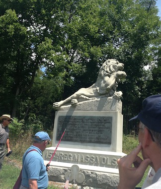 Tom describes the monument to the 15th Massachusetts Volunteer Infantry Regiment at Antietam. It shows a dying lion, its right paw raised in defiance.