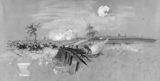 wartime sketch of the fight at Reed's Bridge