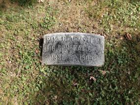 Foot stone of Brigadier General Frank C. Armstrong's grave site, recognizing his rank