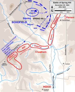 Battle of Spring Hill, After Dark, Nov 29, 1864. Map created by Hal Jesperson. www.cwmaps.com