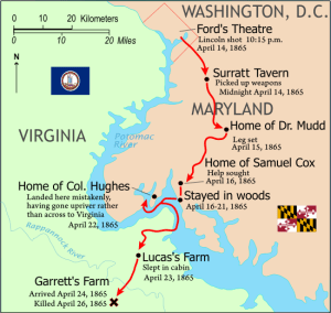Booth's escape route. Courtesy of the National Park Service