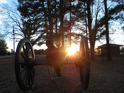 sunset at the Cold Harbor visitor center
