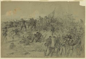 Though relatively forgotten today, the 7th New York Heavy Artillery, along with the 5th New Hampshire made the only breach in the Confederate lines on June 3. The loss of key officers at the time of the breakthrough prevented the Yankees from exploiting the breach. Courtesy of the Library of Congress.