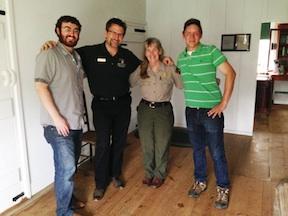 Daniel Davis (left), me, Becky Cummins, and Edward Alexander at the Jackson Shrine on May 10, 2014.