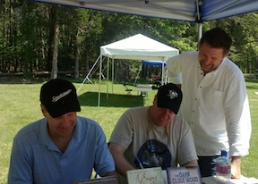 "Don Pfanz (left) and Bert Dunkerly (center) sign copies of their new book ""No Turning Back"" while I make like Grant hovering over Meade's shoulder."