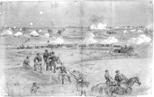 """Alfred Waud sketch of the explosion of the Federal mine at the """"Crater""""."""