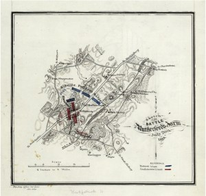 Map depicting the Battle of Rutherford's Farm drawn by Jedediah Hotchkiss, L.O.C.
