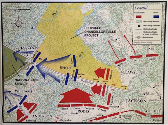 Civil War Preservation Trust map depicting the troop movements on the Day One battlefield. Notice Jackson's name, in the lower-right corner of the map: a location on any page that has extra prominence because eye movement goes from left to right, top to bottom, which always ends the eye near the lower-right corner of a page.