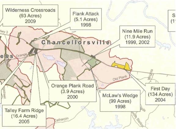 Map depicting CVBT's landholdings at Chancellorsville as of November 2011.