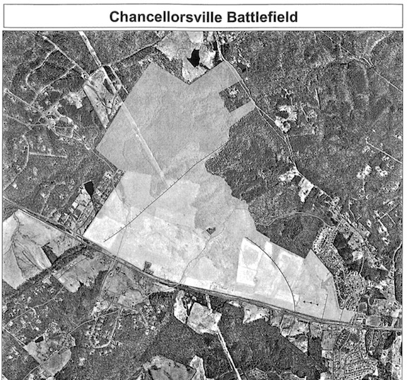 A CVBT satellite map showing the Mullins property, where fighting took place on May 1, 1863. The cleared field along the left edge of the picture is CVBT's McLaws' Wedge property. FSNMP's McLaws Drive is the tree-lined road that runs along the border of the wedge.