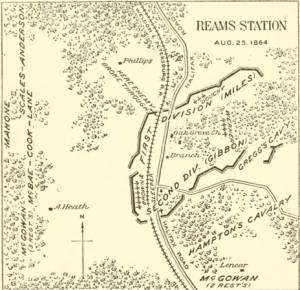 "An image from Francis Walker's ""History of the Second Corps"" which shows the positions of the Second Corps at Ream's Station. Note how the works jut out beyond the railroad."