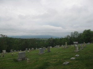 A view from Getty's line in the Middletown Cemetery. Massanutten Mountain can be seen in the distance.