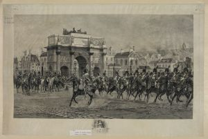Napoleon reviewing his mounted troops. Courtesy of the Library of Congress.