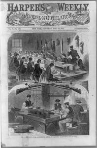 Harper's Weekly sketch of factory workers during the Civil War. Courtesy of the Library of Congress.