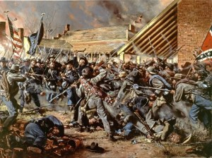 """Opdycke's Tigers"" by Don Troiani depicts the counter-attack near the Carter House at the Battle of Franklin."