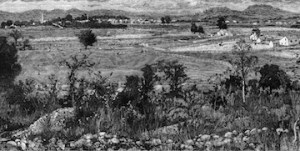 A view of the Franklin battlefield. From Battles and Leaders of the Civil War.