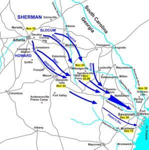 Sherman's March to the Sea. Hal Jesperson cwmaps.com