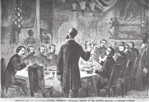 Sherman's Christmas Dinner in Savannah. This sketch was published in Harper's Weekly on January 28, 1865.