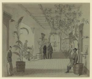 "The interior of the Charles Green house, Sherman's headquarters in Savannah. It was from this house that Hitchcock wrote his letter of December 24, 1864. Hitchcock called the residence ""one of the finest in the city."""