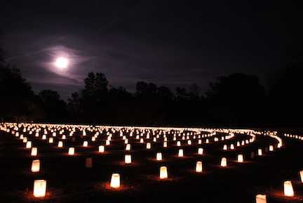 Poplar Grove's 2014 luminary program (both photos courtesy of NPS)