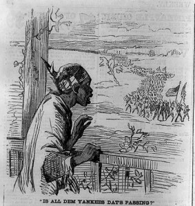 'Is all dem Yankees dat's passing?' published in Harper's Weekly, January of 1865.  Image courtesy of the Library of Congress.