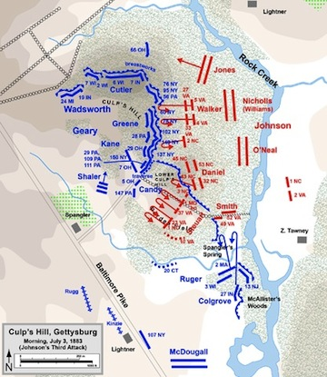 Jespersen's Wikipedia map for Culp's Hill at Gettysburg