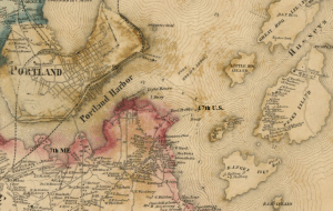 Portland Harbor. The map has been labeled to identify the approximate location of the 7th Maine as well as the location of Fort Preble.