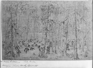 Federal soldiers moving across the Salkehatchie. Courtesy of the Library of Congress.