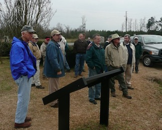 Bentonville Historic Site Don Taylor gives a tour to members of the North Carolina Civil War Roundtable, which has donated thousands of dollars toward battlefield preservation. (photo courtesy NCCWRT)