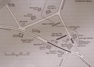 Lexington Green Map, courtesy of Massachusetts Historical Society