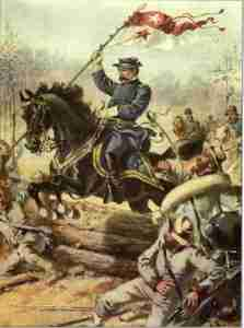 Sheridan leaps the Confederate works at Five Forks.