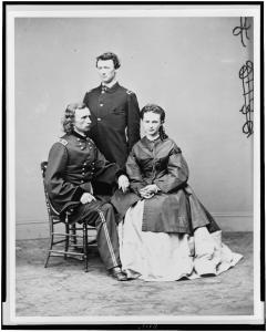 George Armstrong Custer (left), his brother, Thomas W. Custer and wife, Libbie. Courtesy of the Library of Congress.