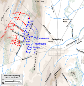 Gettysburg, July 1st-Near 10 AM. Map by Hal Jespersen, www.posix.com/CW