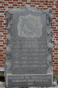 Grave marker of William Phillips near Blandford Church