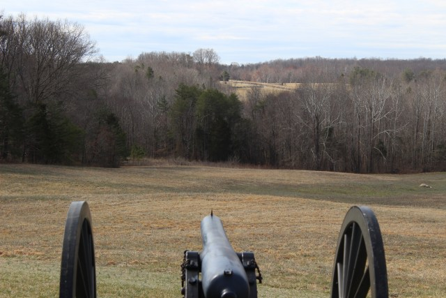 Maj. Gen. Horatio Wright's Union VI Corps artillery pummeled the Confederate line in the  open space in the distance. Their effective fire was a decisive factor.