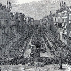Lincoln's funeral procession in Chicago, one of the many stops on his route to Illinois.