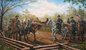 A modern painting of Sherman and Johnston meeting at Bennett Place by Dan Nance. Wade Hampton accompanies Johnston and Judson Kilpatrick is with Sherman.