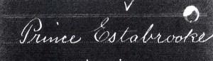 Prince Estabrook Service Record for June 1775