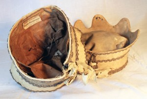 Interior of one hat with the Sisco brothers label. Note the cording, similarities in construction, material and overall design. eBay listing 2014.