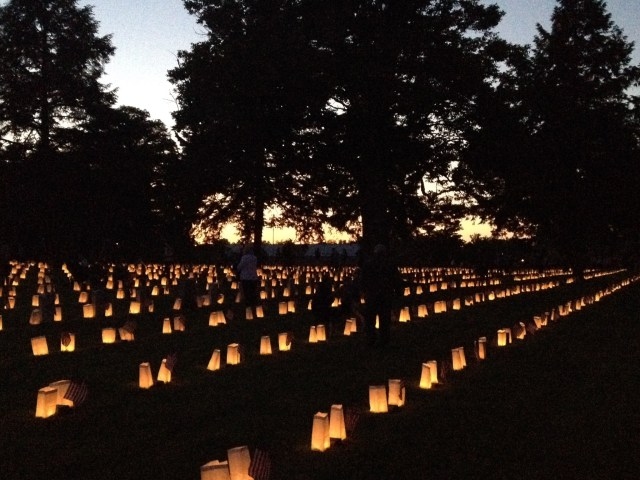 Fredericksburg National Cemetery Luminary. Each lighted candle and bag is marking a grave.  Fredericksburg National Cemetery Luminary. Each lighted candle and bag marking a grave. Some of those graves contain the remains of multiple unknown soldiers. (Photo courtesy of Chris Mackowski)
