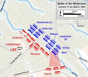 Longstreet's Flank Attack in the Wilderness. Near 11 AM, May 6, 1864. Map by Hal Jespersen, www.posix.com/CW