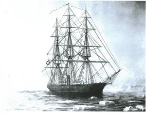 The Shenandoah navigating through ice.