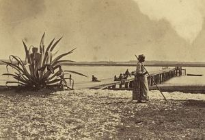 An African American woman works in a field while soldiers lounge on a dock at Seabrook Plantation (detail). LOC.