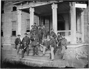 John Sedgwick and his staff on the front steps of Farley.