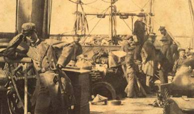Photograph onboard the CSS Alabama, taken in Cape Town in August 1863