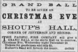 An advertisement for a Grand Christmas Eve Ball in Dayton Ohio, 1862.