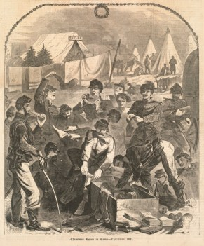 Harper's Weekly from Christmas, 1861.  Soldiers in camp receive boxes of supplies from their families and friends.