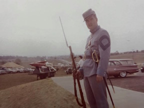 """A photo of Ted's from the 1962 reenactment at Antietam. """"Note the missles,"""" he points out."""
