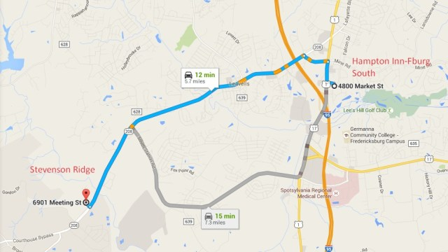 From the Hampton Inn:  Make a right on US Route 1 (Jeff Davis Highway). Make a left onto Hood Drive. at the intersection with Route 208 (Courthouse Road) make a left. After 4.7 miles on 208, Stevenson Ridge will be on your right.